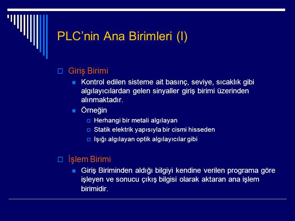 PLC'nin Ana Birimleri (I)  Giriş Birimi  Kontrol edilen sisteme ait basınç, seviye, sıcaklık gibi algılayıcılardan gelen sinyaller giriş birimi üzer