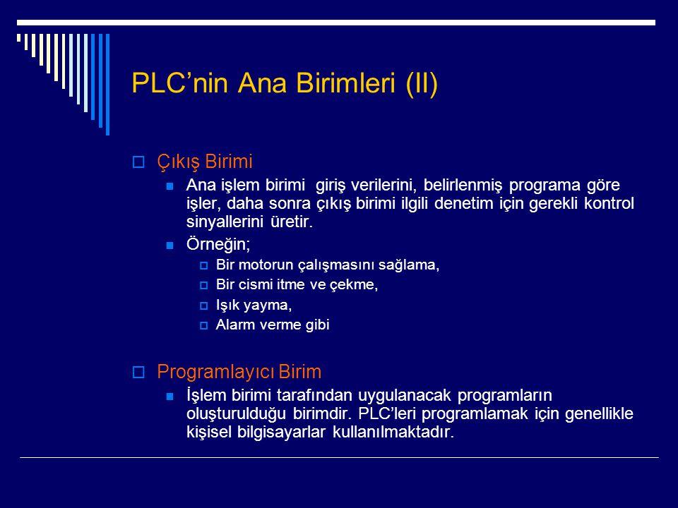 PLC'nin Ana Birimleri (II)  Çıkış Birimi  Ana işlem birimi giriş verilerini, belirlenmiş programa göre işler, daha sonra çıkış birimi ilgili denetim