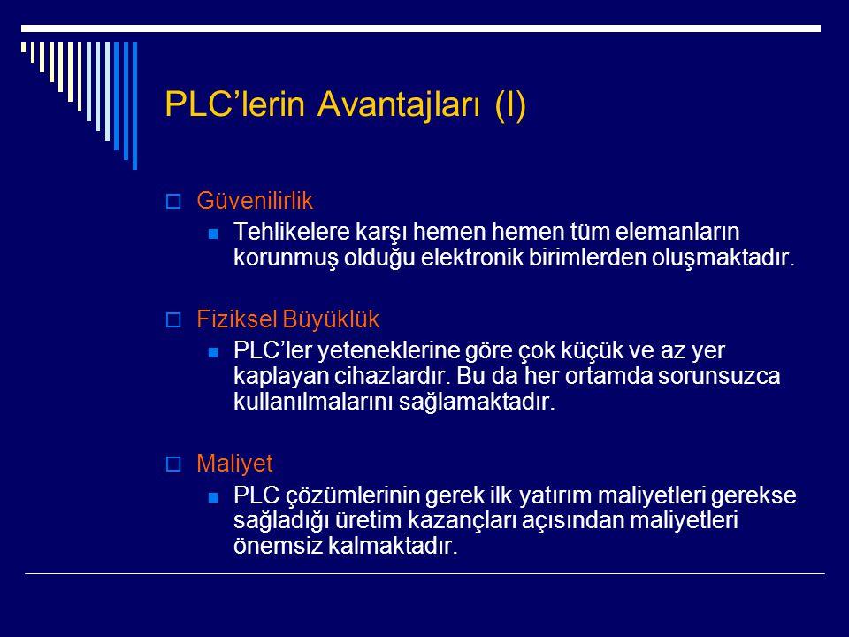 PLC'lerin Avantajları (I)  Güvenilirlik  Tehlikelere karşı hemen hemen tüm elemanların korunmuş olduğu elektronik birimlerden oluşmaktadır.  Fiziks