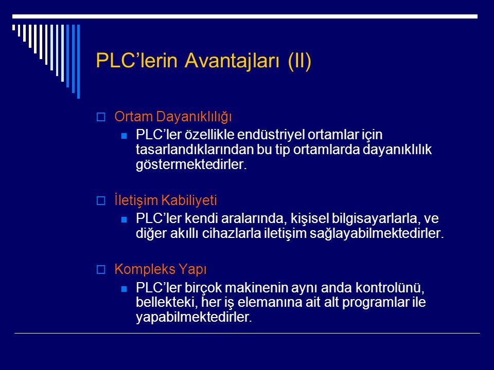PLC'lerin Avantajları (II)  Ortam Dayanıklılığı  PLC'ler özellikle endüstriyel ortamlar için tasarlandıklarından bu tip ortamlarda dayanıklılık göst