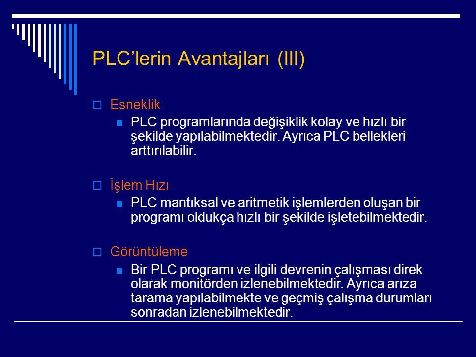 PLC'lerin Avantajları (III)  Esneklik  PLC programlarında değişiklik kolay ve hızlı bir şekilde yapılabilmektedir. Ayrıca PLC bellekleri arttırılabi