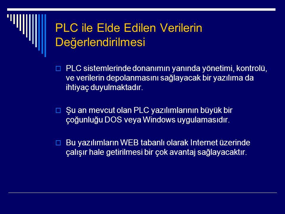 PLC ile Elde Edilen Verilerin Değerlendirilmesi  PLC sistemlerinde donanımın yanında yönetimi, kontrolü, ve verilerin depolanmasını sağlayacak bir ya