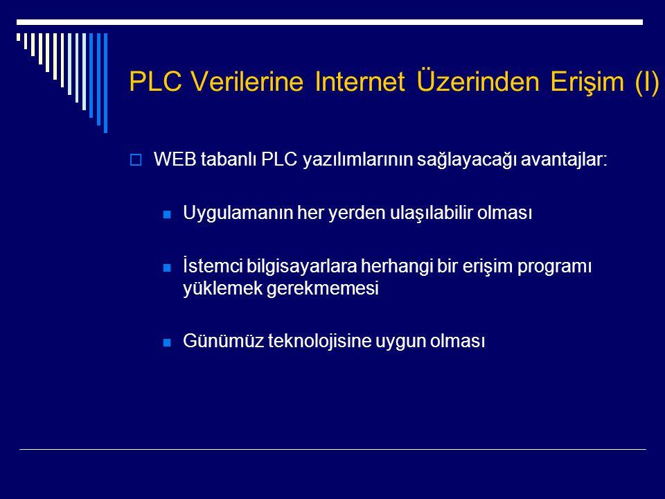 PLC Verilerine Internet Üzerinden Erişim (I)  WEB tabanlı PLC yazılımlarının sağlayacağı avantajlar:  Uygulamanın her yerden ulaşılabilir olması  İ