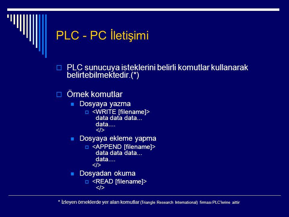 PLC - PC İletişimi  PLC sunucuya isteklerini belirli komutlar kullanarak belirtebilmektedir.(*)  Örnek komutlar  Dosyaya yazma  data data data...