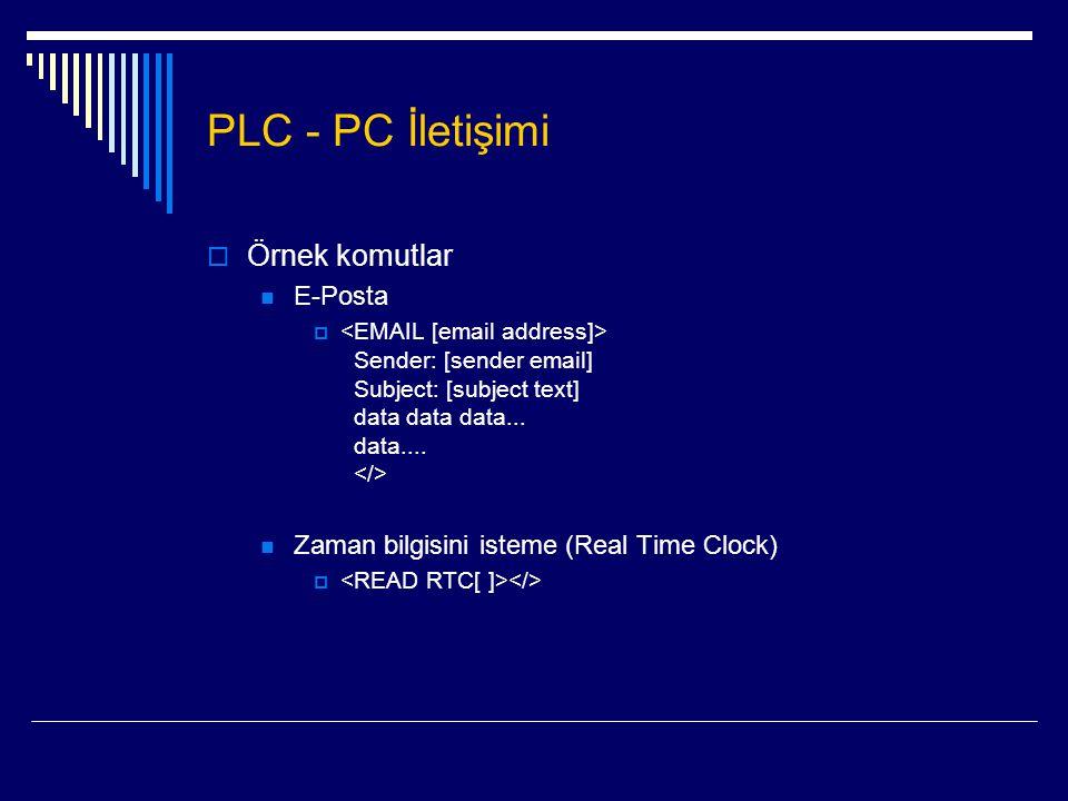 PLC - PC İletişimi  Örnek komutlar  E-Posta  Sender: [sender email] Subject: [subject text] data data data... data....  Zaman bilgisini isteme (Re