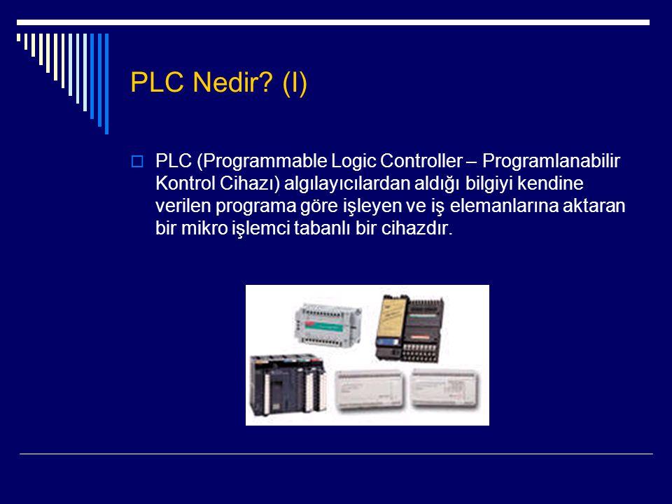PLC Nedir? (I)  PLC (Programmable Logic Controller – Programlanabilir Kontrol Cihazı) algılayıcılardan aldığı bilgiyi kendine verilen programa göre i