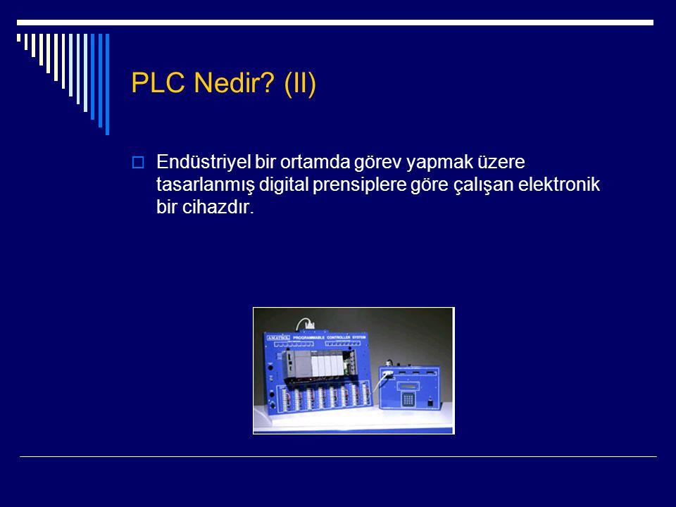 PLC'lerin Uygulama Alanları (I)  Fırınların kontrolü  Enerji dağıtım kontrolü  Üretim otomasyonu (gıda sanayi, kimya sanayi, gibi)  Asansör kontrolü (ağırlık sensörleri)  Motor ve vanaların açık / kapalı konumlarının ve arıza durumlarını kontrolü  Arızalanan bir pompanın yerine yedek olan pompanın otomatik olarak devreye girmesi  Motorların belirli zaman aralıklarında yedekleri ile değiştirilerek dinlendirilmesi  …