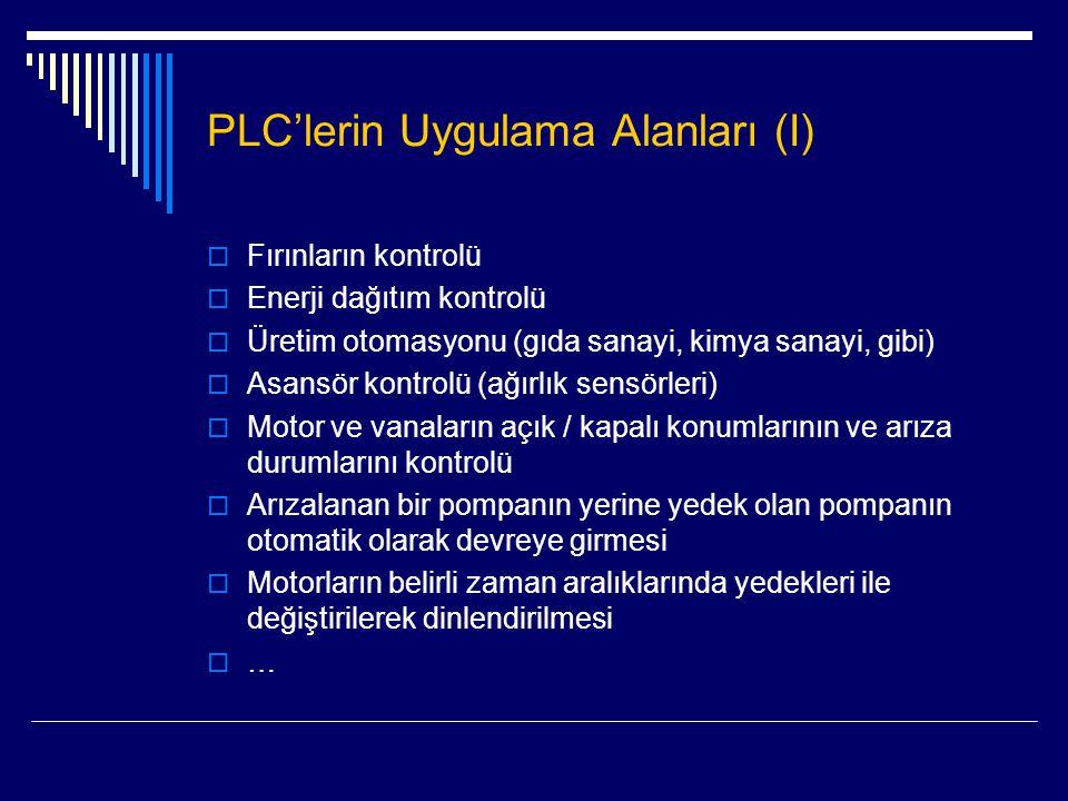 PLC'lerin Uygulama Alanları (I)  Fırınların kontrolü  Enerji dağıtım kontrolü  Üretim otomasyonu (gıda sanayi, kimya sanayi, gibi)  Asansör kontro