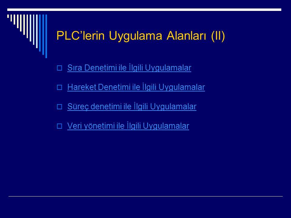 PLC'lerin Uygulama Alanları (II)  Sıra Denetimi ile İlgili Uygulamalar Sıra Denetimi ile İlgili Uygulamalar  Hareket Denetimi ile İlgili Uygulamalar