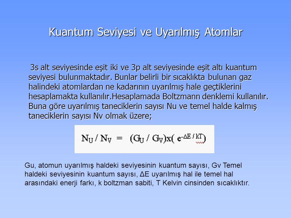 Kuantum Seviyesi ve Uyarılmış Atomlar 3s alt seviyesinde eşit iki ve 3p alt seviyesinde eşit altı kuantum seviyesi bulunmaktadır.