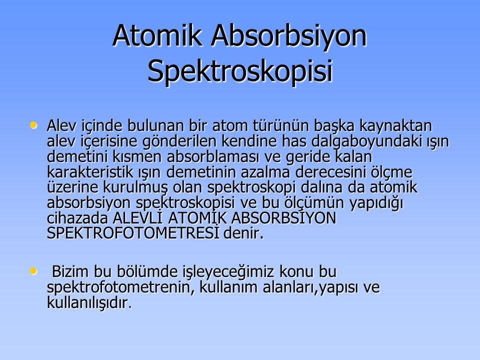Atomik Absorbsiyon Spektroskopisi • Alev içinde bulunan bir atom türünün başka kaynaktan alev içerisine gönderilen kendine has dalgaboyundaki ışın dem