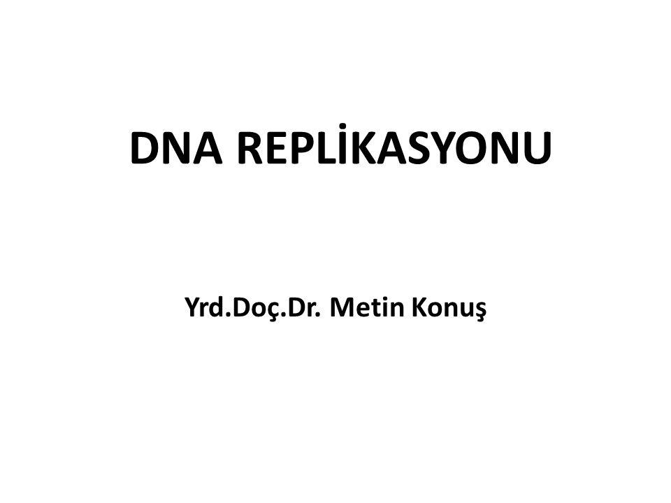 DNA REPLİKASYONU Yrd.Doç.Dr. Metin Konuş