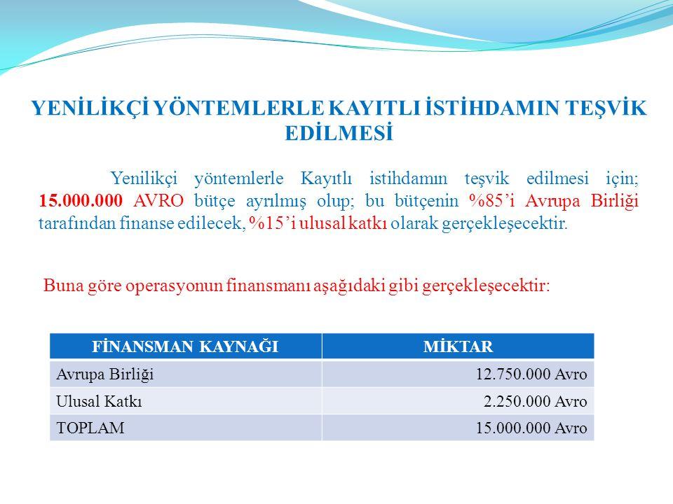 YENİLİKÇİ YÖNTEMLERLE KAYITLI İSTİHDAMIN TEŞVİK EDİLMESİ Yenilikçi yöntemlerle Kayıtlı istihdamın teşvik edilmesi için; 15.000.000 AVRO bütçe ayrılmış