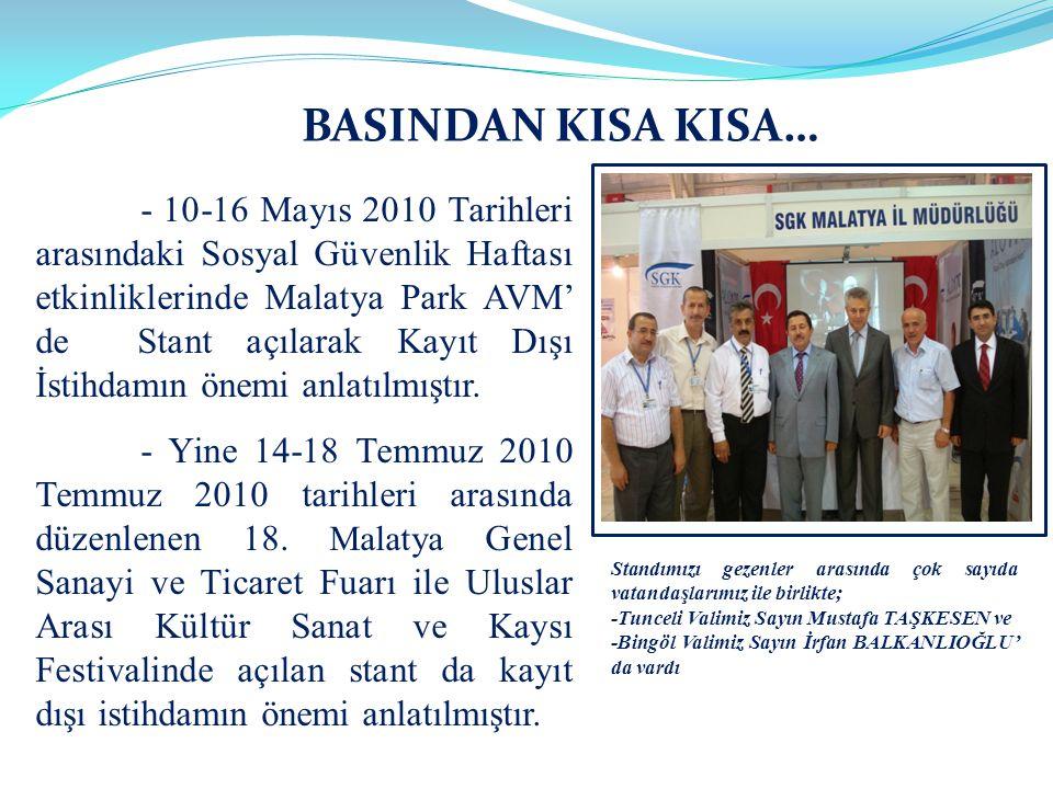 - 10-16 Mayıs 2010 Tarihleri arasındaki Sosyal Güvenlik Haftası etkinliklerinde Malatya Park AVM' de Stant açılarak Kayıt Dışı İstihdamın önemi anlatı