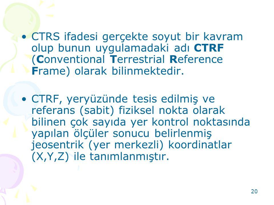 20 •CTRS ifadesi gerçekte soyut bir kavram olup bunun uygulamadaki adı CTRF (Conventional Terrestrial Reference Frame) olarak bilinmektedir. •CTRF, ye
