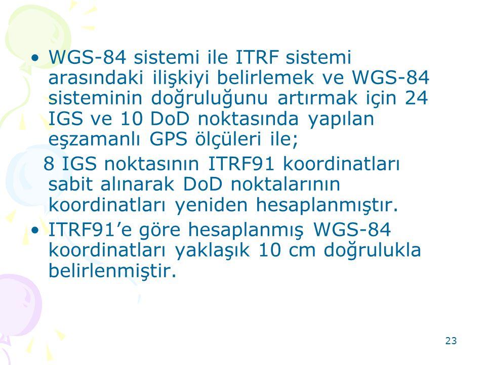 23 •WGS-84 sistemi ile ITRF sistemi arasındaki ilişkiyi belirlemek ve WGS-84 sisteminin doğruluğunu artırmak için 24 IGS ve 10 DoD noktasında yapılan