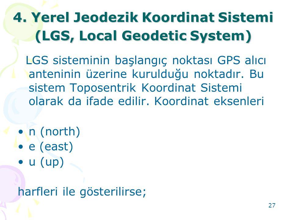 27 4. Yerel Jeodezik Koordinat Sistemi (LGS, Local Geodetic System) LGS sisteminin başlangıç noktası GPS alıcı anteninin üzerine kurulduğu noktadır. B