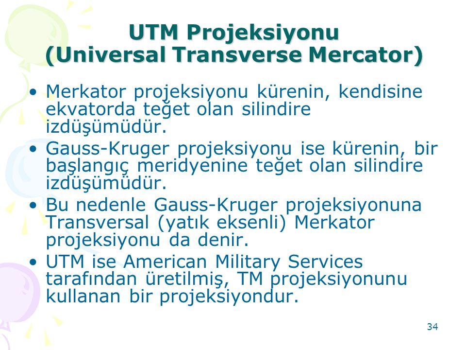 34 UTM Projeksiyonu (Universal Transverse Mercator) •Merkator projeksiyonu kürenin, kendisine ekvatorda teğet olan silindire izdüşümüdür. •Gauss-Kruge