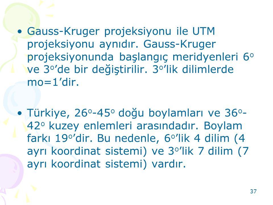 37 •Gauss-Kruger projeksiyonu ile UTM projeksiyonu aynıdır. Gauss-Kruger projeksiyonunda başlangıç meridyenleri 6 o ve 3 o 'de bir değiştirilir. 3 o '
