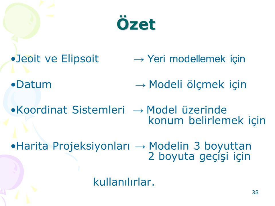 38 Özet •Jeoit ve Elipsoit → Yeri modellemek için •Datum → Modeli ölçmek için •Koordinat Sistemleri → Model üzerinde konum belirlemek için •Harita Pro