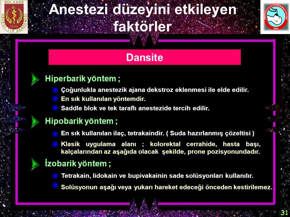 31 Anestezi düzeyini etkileyen faktörler Dansite Hiperbarik yöntem ;Hipobarik yöntem ;İzobarik yöntem ; Çoğunlukla anestezik ajana dekstroz eklenmesi