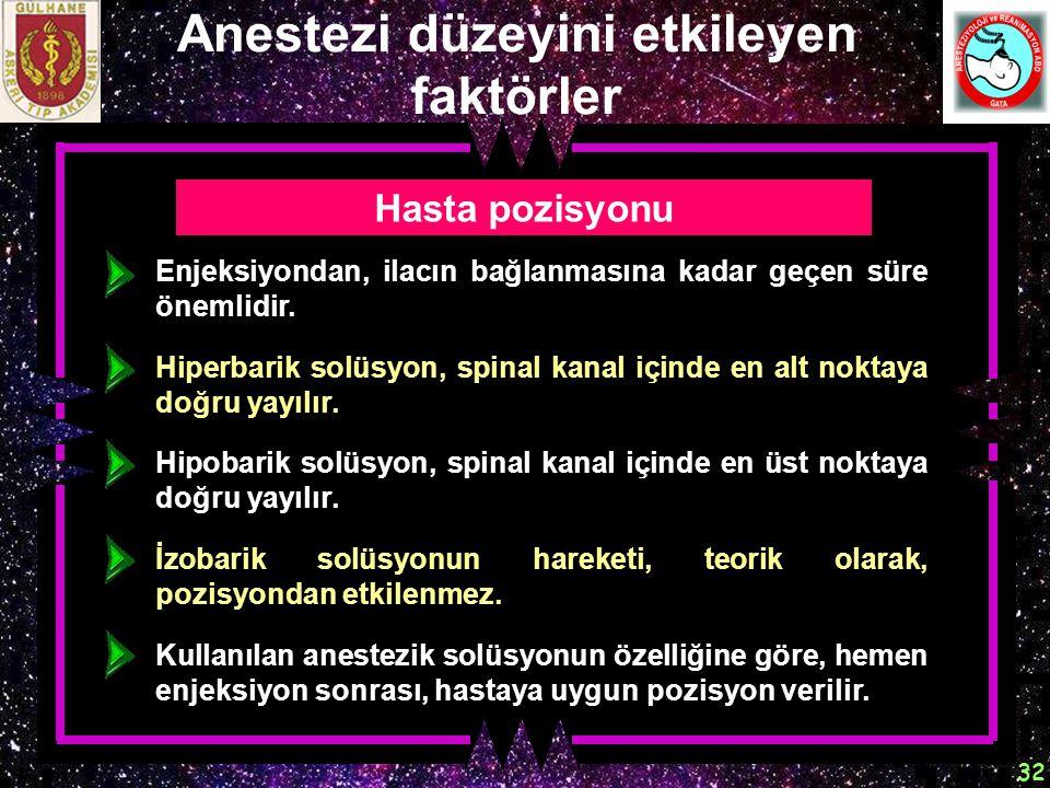 32 Anestezi düzeyini etkileyen faktörler Hasta pozisyonu Enjeksiyondan, ilacın bağlanmasına kadar geçen süre önemlidir. Hiperbarik solüsyon, spinal ka