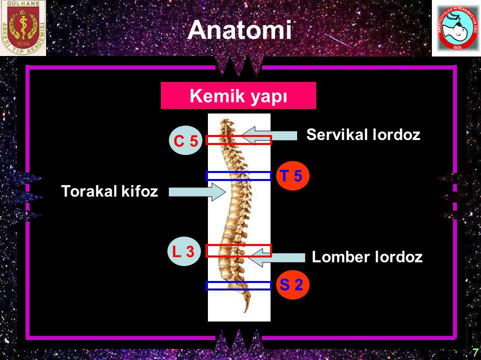 7 Anatomi Kemik yapı Torakal kifoz Servikal lordoz Lomber lordoz L 3 C 5 S 2 T 5