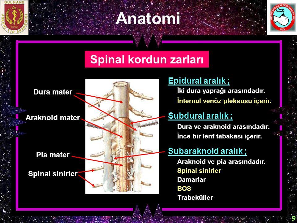 9 Anatomi Spinal kordun zarları Araknoid mater Dura mater Pia mater Spinal sinirler Epidural aralık ; İki dura yaprağı arasındadır. İnternal venöz ple