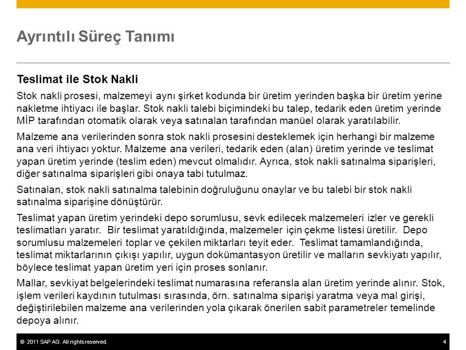 ©2011 SAP AG. All rights reserved.4 Ayrıntılı Süreç Tanımı Teslimat ile Stok Nakli Stok nakli prosesi, malzemeyi aynı şirket kodunda bir üretim yerind