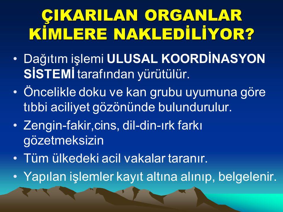 ÇIKARILAN ORGANLAR KİMLERE NAKLEDİLİYOR.