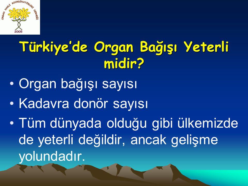 Türkiye'de Organ Bağışı Yeterli midir? •Organ bağışı sayısı •Kadavra donör sayısı •Tüm dünyada olduğu gibi ülkemizde de yeterli değildir, ancak gelişm