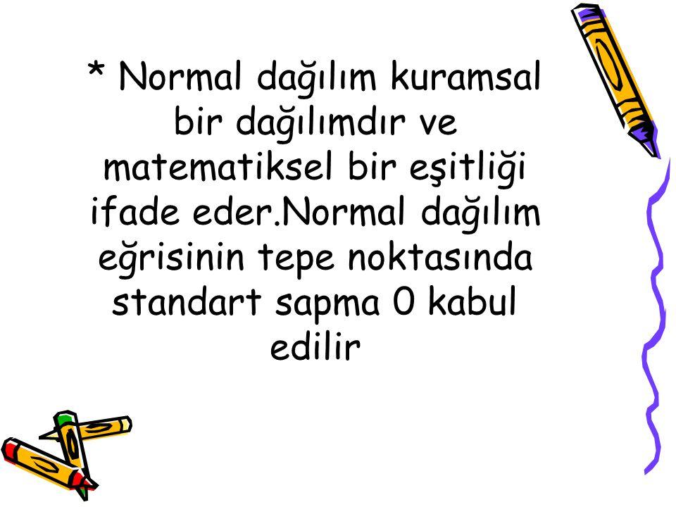 * Normal dağılım kuramsal bir dağılımdır ve matematiksel bir eşitliği ifade eder.Normal dağılım eğrisinin tepe noktasında standart sapma 0 kabul edili