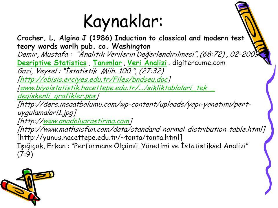"Kaynaklar: Crocher, L, Algina J (1986) Induction to classical and modern test teory words worlh pub. co. Washington Demir, Mustafa : ""Analitik Veriler"