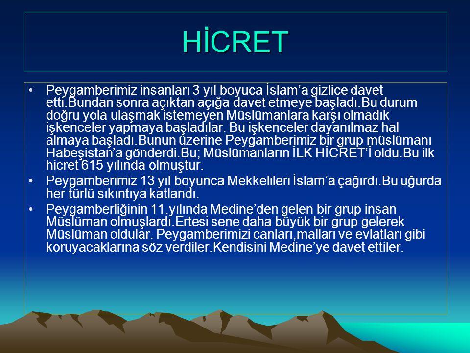 HİCRET •Peygamberimiz insanları 3 yıl boyuca İslam'a gizlice davet etti.Bundan sonra açıktan açığa davet etmeye başladı.Bu durum doğru yola ulaşmak is