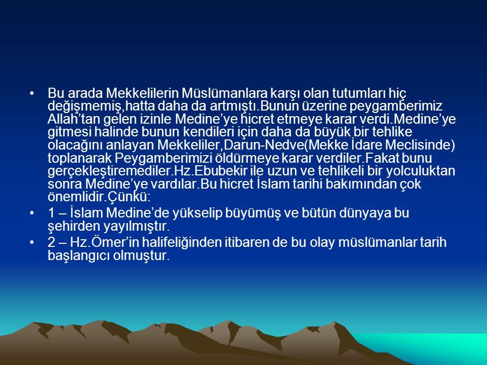 •Bu arada Mekkelilerin Müslümanlara karşı olan tutumları hiç değişmemiş,hatta daha da artmıştı.Bunun üzerine peygamberimiz Allah'tan gelen izinle Medi