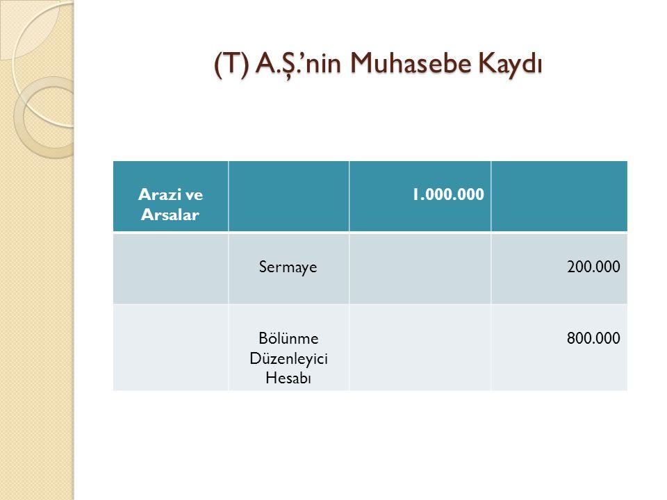(T) A.Ş.'nin Muhasebe Kaydı Arazi ve Arsalar 1.000.000 Sermaye200.000 Bölünme Düzenleyici Hesabı 800.000