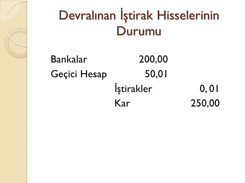 Devralınan İ ştirak Hisselerinin Durumu Bankalar 200,00 Geçici Hesap 50,01 İ ştirakler 0, 01 Kar 250,00