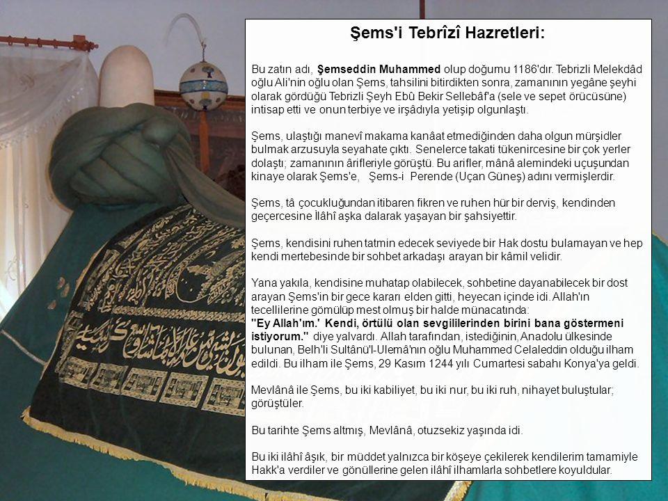Şems'i Tebrîzî Hazretleri: Bu zatın adı, Şemseddin Muhammed olup doğumu 1186'dır. Tebrizli Melekdâd oğlu Ali'nin oğlu olan Şems, tahsilini bitirdikten