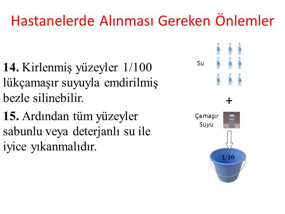 Hastanelerde Alınması Gereken Önlemler 14. Kirlenmiş yüzeyler 1/100 lükçamaşır suyuyla emdirilmiş bezle silinebilir. 15. Ardından tüm yüzeyler sabunlu