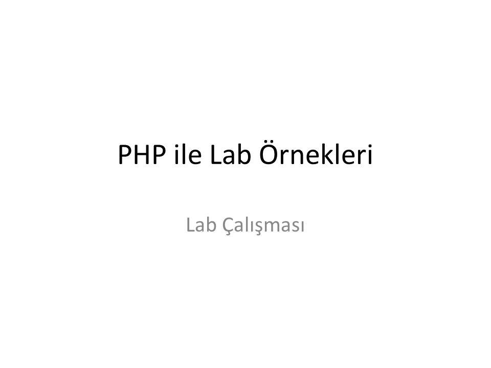 PHP ile Lab Örnekleri Lab Çalışması