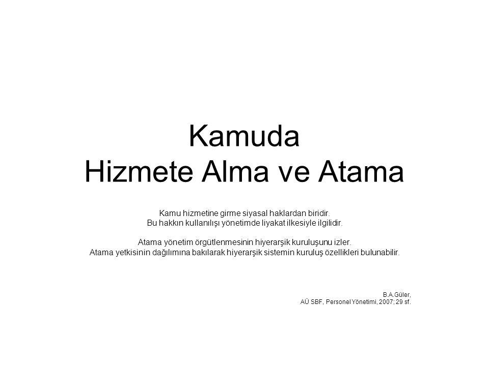 Kamuda Hizmete Alma ve Atama Kamu hizmetine girme siyasal haklardan biridir. Bu hakkın kullanılışı yönetimde liyakat ilkesiyle ilgilidir. Atama yöneti