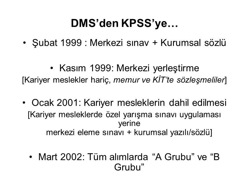 DMS'den KPSS'ye… •Şubat 1999 : Merkezi sınav + Kurumsal sözlü •Kasım 1999: Merkezi yerleştirme [Kariyer meslekler hariç, memur ve KİT'te sözleşmeliler