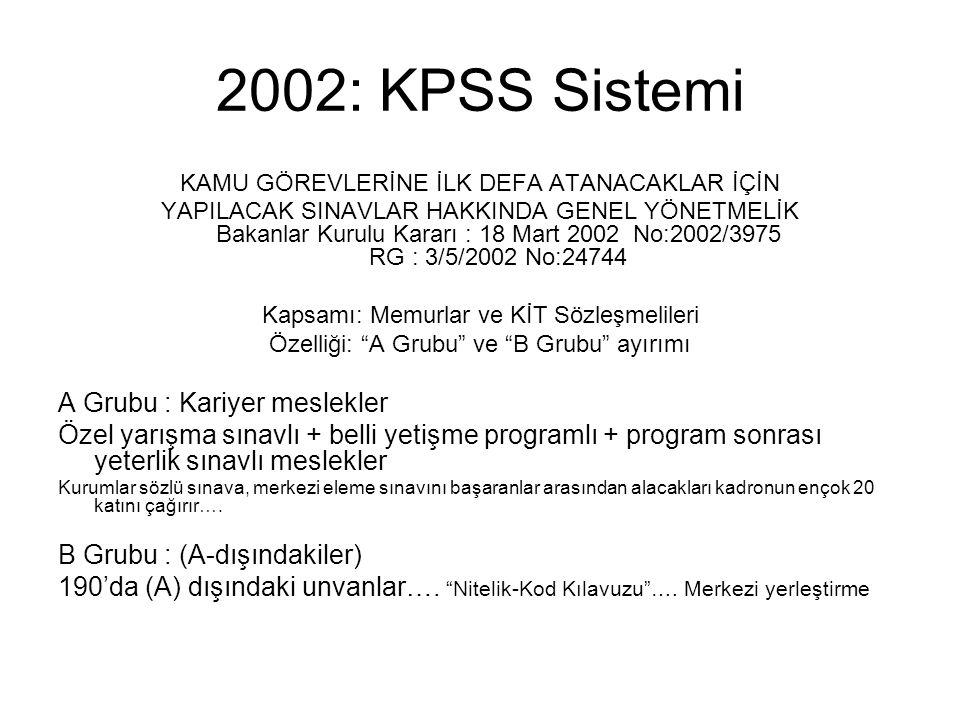 2002: KPSS Sistemi KAMU GÖREVLERİNE İLK DEFA ATANACAKLAR İÇİN YAPILACAK SINAVLAR HAKKINDA GENEL YÖNETMELİK Bakanlar Kurulu Kararı : 18 Mart 2002 No:20