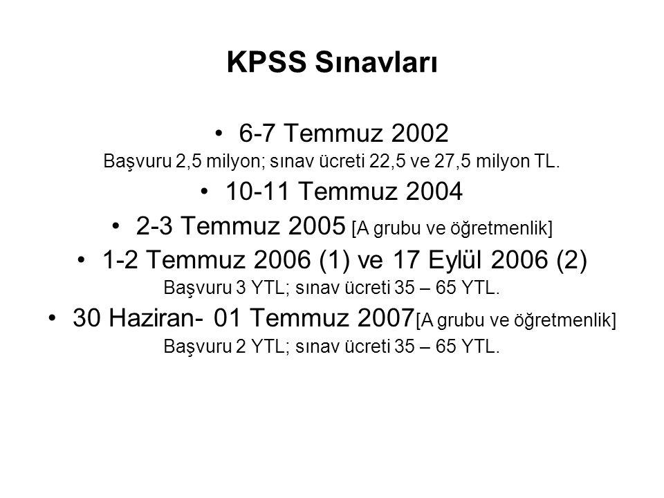 KPSS Sınavları •6-7 Temmuz 2002 Başvuru 2,5 milyon; sınav ücreti 22,5 ve 27,5 milyon TL. •10-11 Temmuz 2004 •2-3 Temmuz 2005 [A grubu ve öğretmenlik]