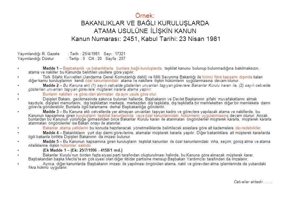 Örnek: BAKANLIKLAR VE BAĞLI KURULUŞLARDA ATAMA USULÜNE İLİŞKİN KANUN Kanun Numarası: 2451, Kabul Tarihi: 23 Nisan 1981 Yayımlandığı R. Gazete : Tarih