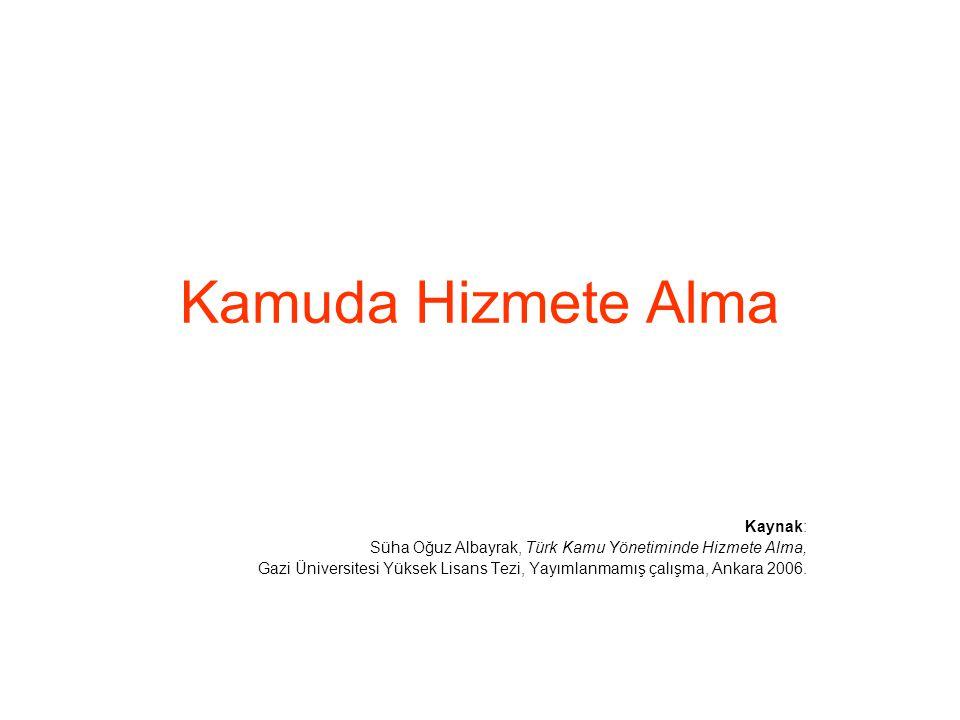 Kamuda Hizmete Alma Kaynak: Süha Oğuz Albayrak, Türk Kamu Yönetiminde Hizmete Alma, Gazi Üniversitesi Yüksek Lisans Tezi, Yayımlanmamış çalışma, Ankar