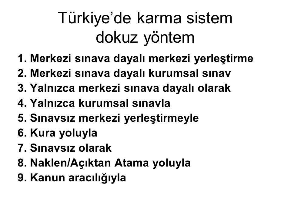 Türkiye'de karma sistem dokuz yöntem 1. Merkezi sınava dayalı merkezi yerleştirme 2. Merkezi sınava dayalı kurumsal sınav 3. Yalnızca merkezi sınava d