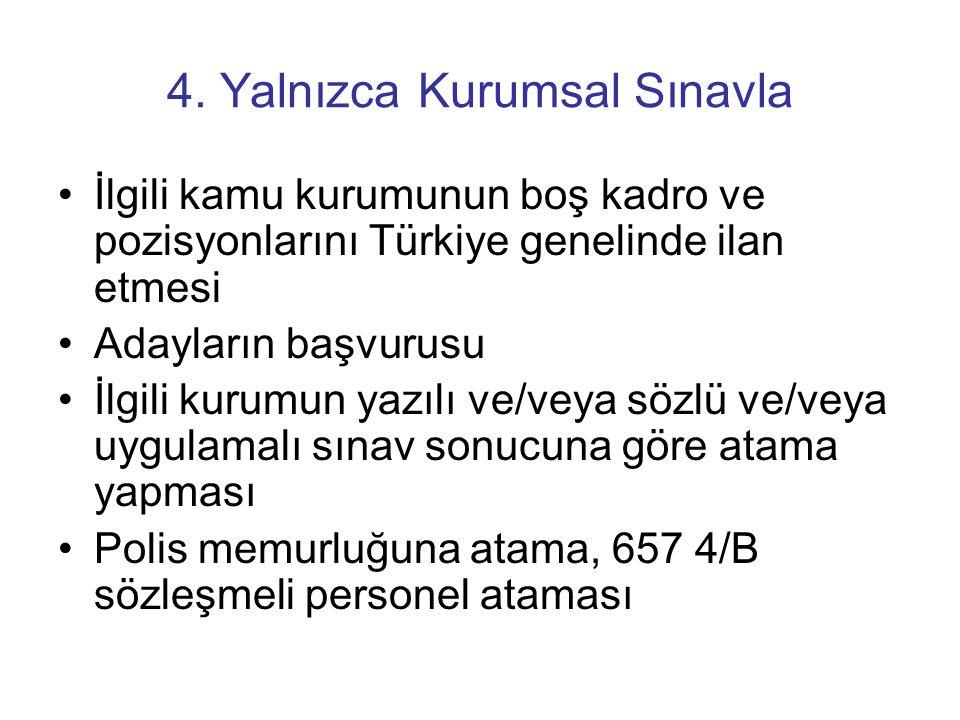 4. Yalnızca Kurumsal Sınavla •İlgili kamu kurumunun boş kadro ve pozisyonlarını Türkiye genelinde ilan etmesi •Adayların başvurusu •İlgili kurumun yaz