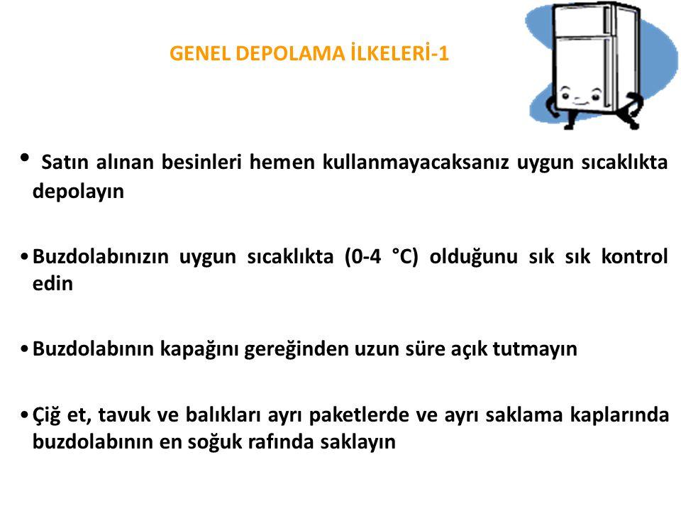 GENEL DEPOLAMA İLKELERİ-1 • Satın alınan besinleri hemen kullanmayacaksanız uygun sıcaklıkta depolayın •Buzdolabınızın uygun sıcaklıkta (0-4 °C) olduğ