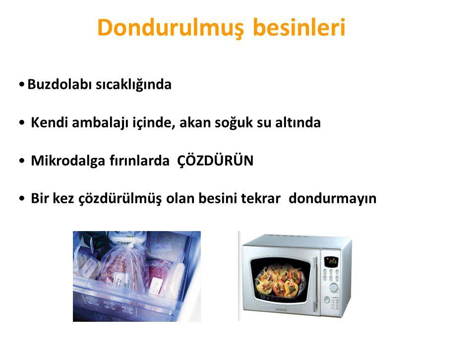 Dondurulmuş besinleri •Buzdolabı sıcaklığında • Kendi ambalajı içinde, akan soğuk su altında • Mikrodalga fırınlarda ÇÖZDÜRÜN • Bir kez çözdürülmüş ol